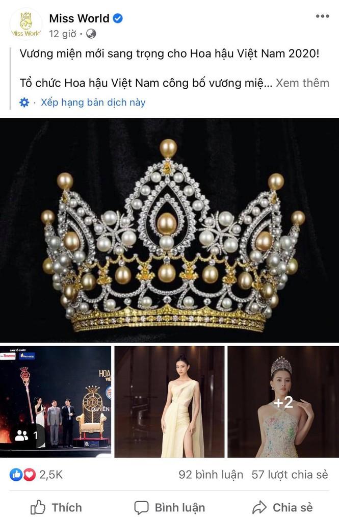 Vương miện Hoa hậu Việt Nam 2020 xuất hiện trên trang chủ Miss World - Ảnh 1.