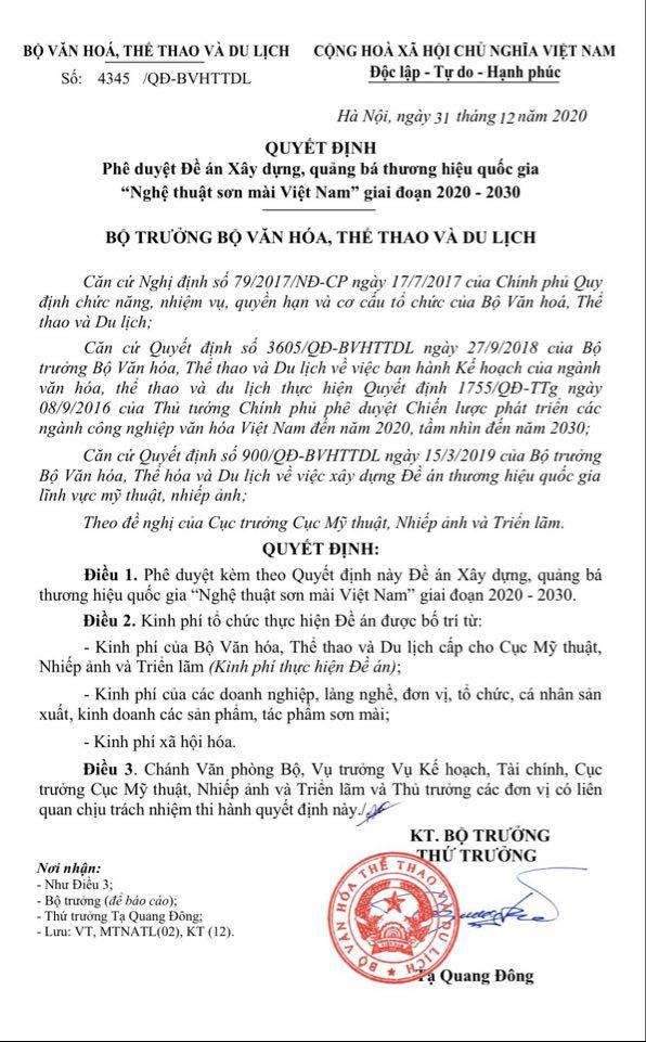 Bộ VHTT&DL: Phê duyệt Đề án Xây dựng, quảng bá thương hiệu quốc gia 'Nghệ thuật sơn mài Việt Nam' giai đoạn 2020-2030 - Ảnh 1.