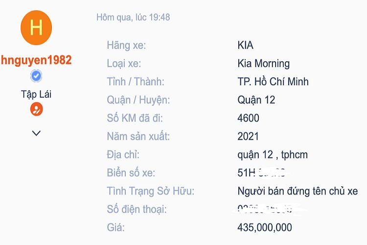 Kia Morning 2021 đầu tiên tại Việt Nam lên sàn xe cũ, thách cưới giá rẻ - Ảnh 1.