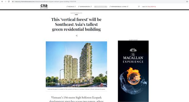 Dự án Sol Forest Ecopark được hàng loạt báo quốc tế xướng tên - Ảnh 1.