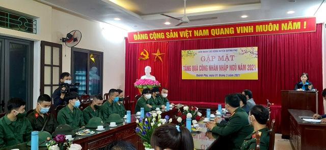 Liên đoàn Lao động huyện Quỳnh Phụ (Thái Bình) gặp mặt công nhân lao động nhập ngũ năm 2021. - Ảnh 3.