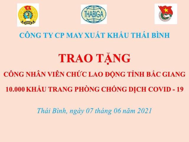 Thái Bình: Trao 10.000 khẩu trang cho CNLĐ tỉnh Bắc Giang - Ảnh 2.