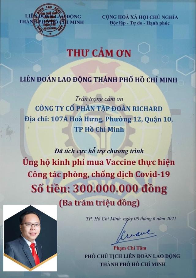 Công ty Cổ phần Tâp đoàn Richard ủng hộ 300 triệu đồng kinh phí mua vaccine phòng, chống dịch Covid-19 - Ảnh 4.