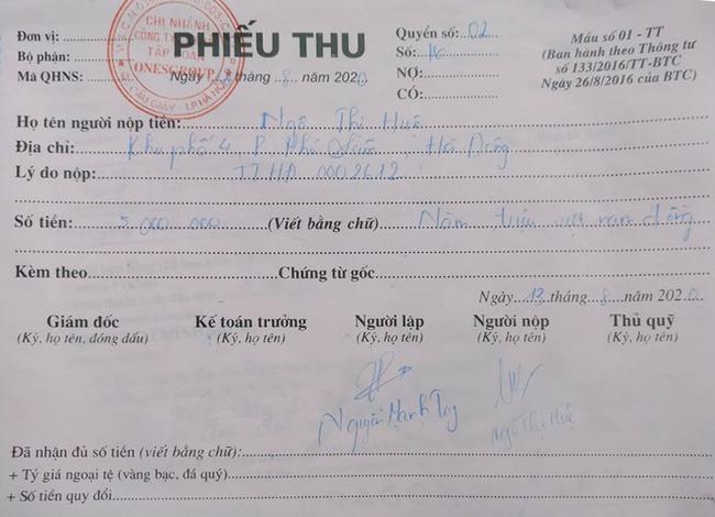 Phiếu thu có dấu đỏ của Công ty PV nhận được sau khi đặt cọc tiền.