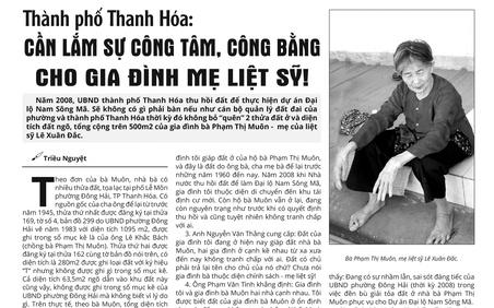 Thành phố Thanh Hóa: Vẫn chưa có sự công tâm, công bằng cho gia đình mẹ liệt sĩ Phạm Thị Muôn